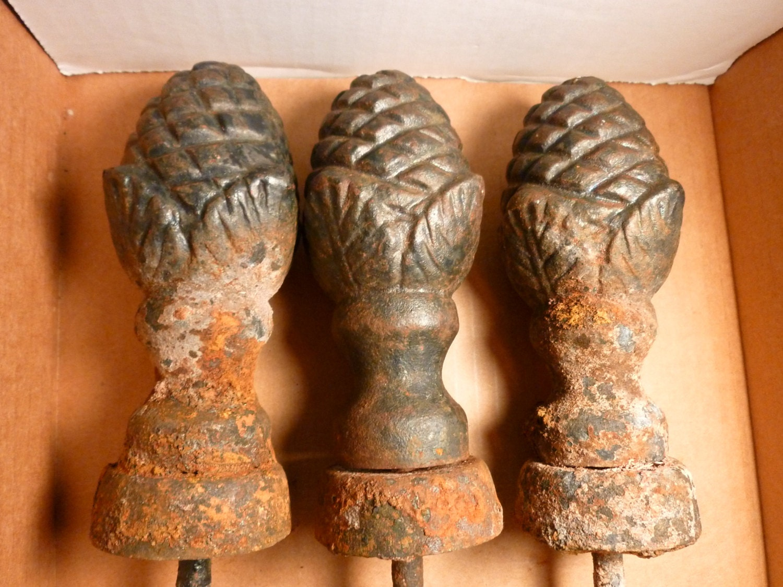 3 Antique Vintage Cast Iron Pine Cone shaped Hose Guides Heavy