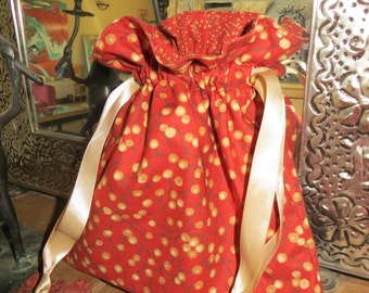 Persimmon Colored Lined Drawstring Fabric Bag
