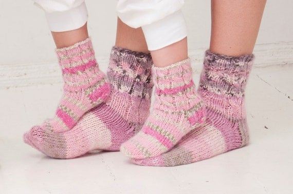 Sizes 28/29, 30/31 ready to ship. Children socks, soft, warm, hand knitted pink socks with silk/mohair.