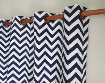 "Pair of 25"" wide navy blue and white chevron zig zag ROD POCKET panels drapes curtains 25x63 25x84 25x96 25x108"" can add grommets/lining"