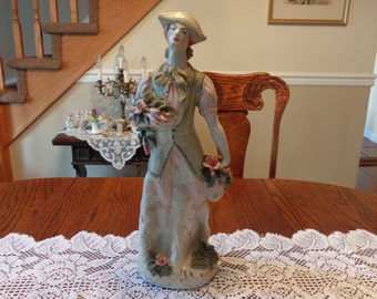 Cordey  Large Victorian  Figurine Man Holding Flowers /  Antique Figurine / Courting  Man Figurine