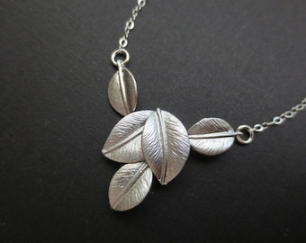 5 Leaves Necklace in STERLING SILVER CHAIN--Valentines Necklace-Perfect Gift for mom for friends Birthday Present for her