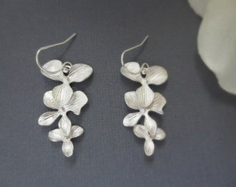 Triple Orchid Flower 925 STERLING SILVER Earrings--Bridesmaid Gift--Perfect Gift for mom for friends Birthday Present for her