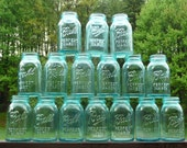 Wedding Blue mason ball perfect  jar Vintage Wedding centerpiece  Mason Large  Quart size 6 Jars