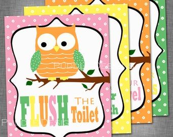 Printable Owl Bathroom Decor