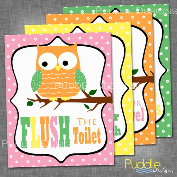 Items Similar To Printable Owl Bathroom Decor On Etsy
