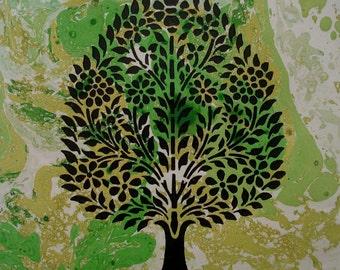 Blossoming Tree, Woodblock, 34.5cm H x 25cm W