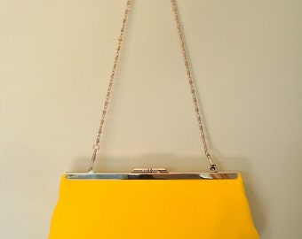 Free US Shipping  Beautiful Bright Yellow Summer Linen Clutch Frame Purse Bag Lined Chain