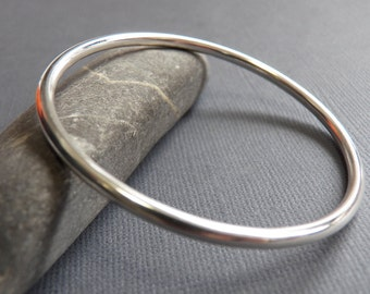 Sterling Silver Bangle - 8 gauge 3.25 mm - Weighty Sophisticated Sleek Elegant Design - Heavy bracelet
