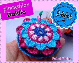 "Crochet Pincushion ""Dahlia"" 3D Flower - PDF Pattern Tutorial by Petozi"
