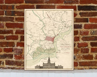 1777 Philadelphia Vintage Map Canvas Print
