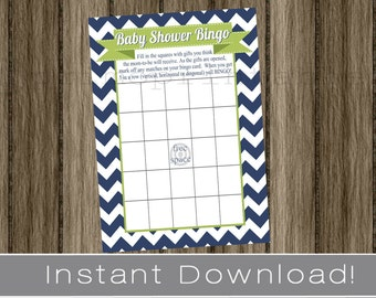 Baby Shower Bingo Game Cards navy blue chevron and green INSTANT DOWNLOAD diy printable file print your own , babyshower activity idea