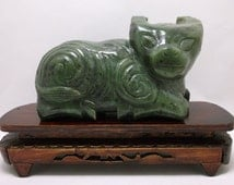 A superb antique Chinese 19TH archaic water buffalo soapstone figurine rare celadon spinach stone huge finely carved