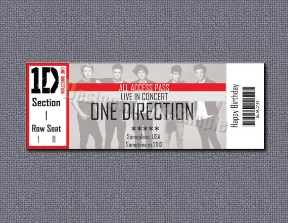 Custom Concert Ticket Gift Certificate - One Direction - On the Roud ...
