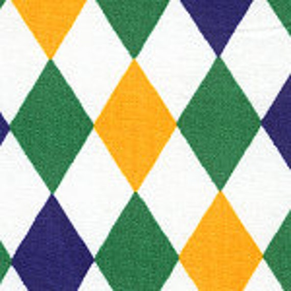 Mardi Gras Diamond Fabric Finders Cotton Fabric