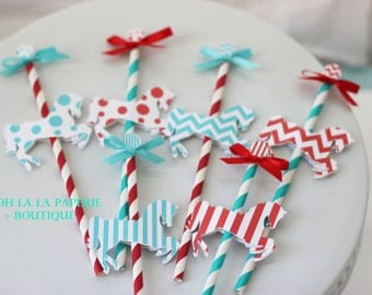 Bright and Cheery Merry-Go-Round/Carousel Horse Cupcake Topper/Pick- SET OF 6 or 12