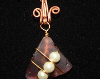 Pale Purple Sea Glass Pendant