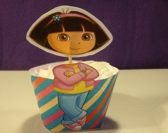 Dora the explorer cupcake wrappers and toppers-set of 12