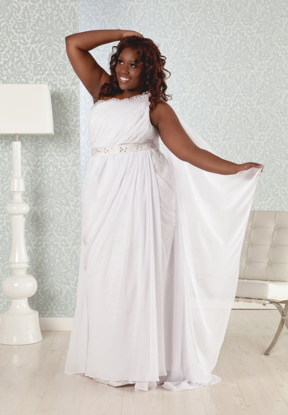 Items similar to plus size wedding gown greek goddess for Plus size wedding dresses on sale