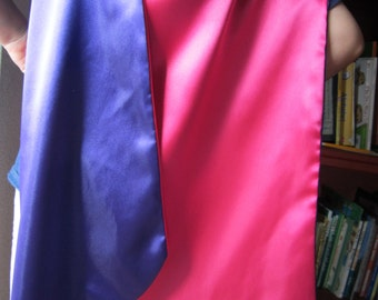 Satin superhero cape for girls in hot pink and purple