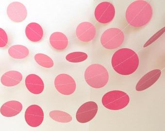 Pink Circle Garland, Pink Bridal Shower Garland, Pink Wedding Garland, Pink Party Garland, Girl First Birthday Decor, Pink Princess Party