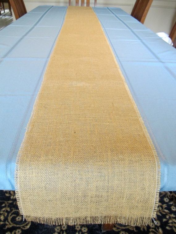 Burlap table runner 9 feet long or made to order length with for 12 foot table runner