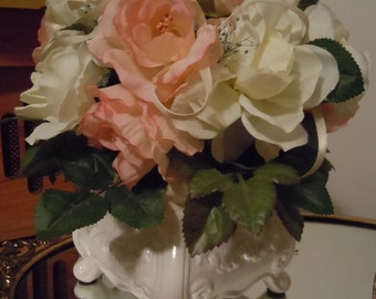 Shabby Chic Bountiful Rose Bouquet with Victorian Ceramic Vase,  Shabby Chic Table Topper, Victorian Silk Flower Arrangment