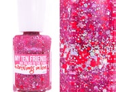 Earthlings In Love Glitter Nail Polish - Hot Pink With Hot Orange and SIlver Glitter - Handblended Sparkly Nail Color