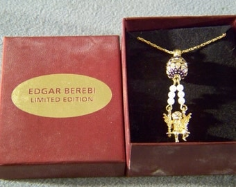 Vintage  Yellow gold Faux Pearl Enameled Rhinestone Collectable Edgar Berberi Retired  Pendant Charm  Necklace Chain New Box