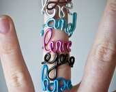 Custom word ring, handmade ring with personalized text, adjustable ring, lettering ( love, peace, hope ring and so on)