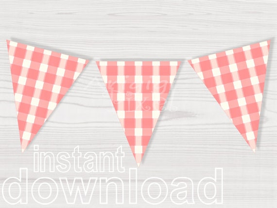 peach pink plaid triangles pennants - girl birthday party - baby girl shower - download