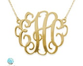 2 Inch Oversized Monogram Necklace in 18k Gold Plated Sterling Silver - Oversized Pendant