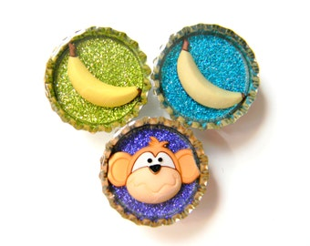 Magnet Set of 3 Monkeys and Bananas Glitter Resin Filled Bottle Caps