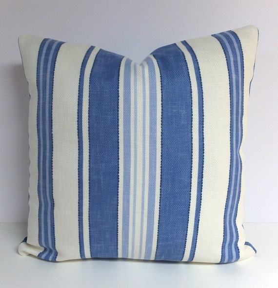 Blue Striped Decorative Pillows : Blue Pillow . Blue and White Stripe Pillow . P. by StudioAire