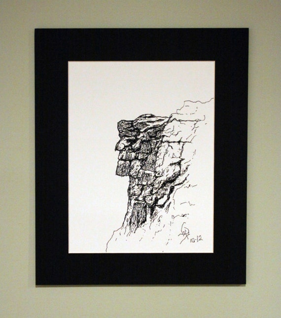 Art Print Old Man In The Mountain Pen Amp Ink