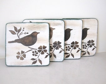 Wooden hand painted coasters , bird rustic square coasters, set of 4 table coasters, coaster bird ,  gift under 25 , stocking stuffers