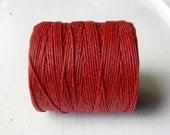 Red 7 ply Irish waxed linen cord (10 yards) - Irish waxed linen, Irish waxed linen thread, uk thick irish linen cord