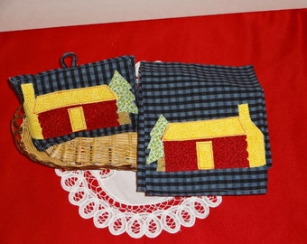 HomeSpun Hand Appliqued Log Cabin Dish Towel And Pot Holder Set,,,Cabin Collector, Decor, Kitchen Decor,,