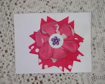 Cloth Flower Hair Bow,, With Ribbon Added ,, Alligator Clip Hair Bow,,,