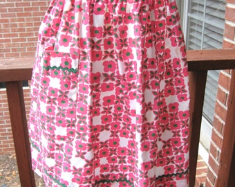 Vintage Pink/Green/ Floral/ Half Apron /Handmade/Retro