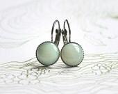 Green Fairy // minimalist cabochon earrings anthrazite, mint - simple earrings for girls, women - everyday jewelry