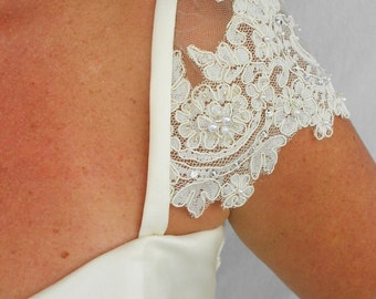 Detachable Beaded Lace Wedding Gown Cap Sleeves #7