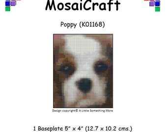 MosaiCraft Pixel Craft Mosaic Art Kit 'Poppy' Cavalier King Charles Puppy (Like Mini Mosaic and Paint by Numbers)