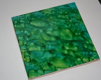 Alcohol Ink Coasters (Set of 4) Blue/Green/Teal