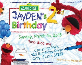 Elmo's World Customizable Birthday Invitation, digital printable file