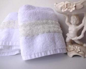 You Pick Size, Rose, white bathroom towel, Shabby Chic bathroom, white towel, rose bathroom, rose towel, rose, hand towels, bath