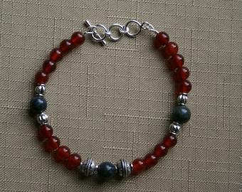Carnelian Bracelet with Lapis Accent Beads
