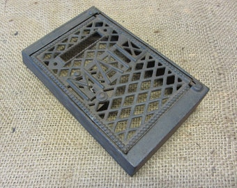 Vintage Cast Iron Mailbox w Rare Design - Antique Old Metal Mail Box Mailboxes Primitive Shabby 7794