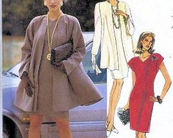 McCalls :6243 UNCUT Unlined Flared Coat and Semi Fitted Dress Pattern