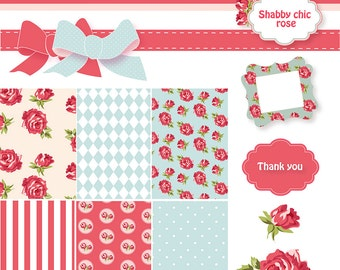 Shabby Chic Digital Scrapbook Paper Pack. Papers, Red and Blue Vector Frames and Roses Clip Art.